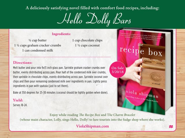 Hello Dolly Bars - Recipe Card