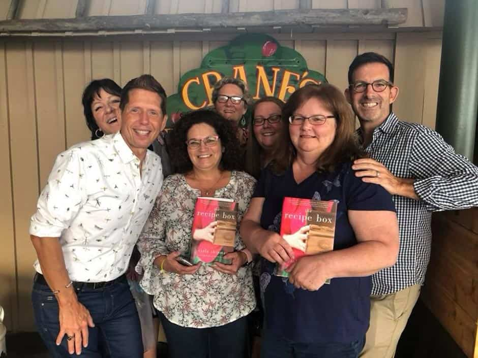 Wade Rouse/Viola Shipman with readers for a book tour event for THE RECIPE BOX